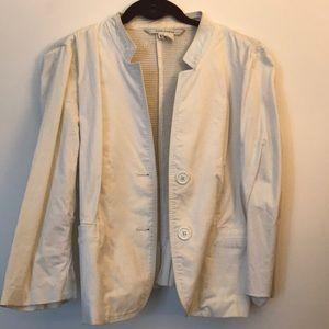 Zara white extra large blazer with pleated back